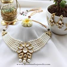 choker necklace with pearls images Pearl kundan choker necklace set south india jewels jpg