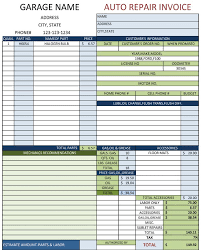 Repair Order Template Excel Mechanic Shop Invoices Search M A R S
