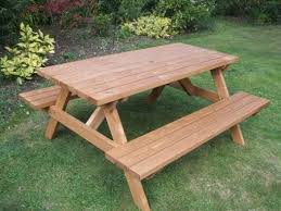 wooden table and bench wooden a frame picnic bench 4 seater e timber products