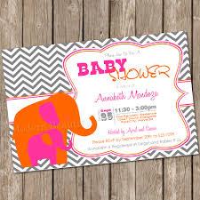 elephant baby shower invitation pink orange chevron