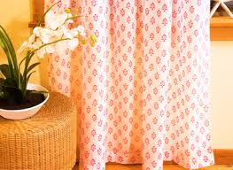 Orange White Curtains White Pink Floral Sheer Curtain