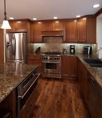 kitchen with wood floors wood flooring