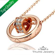 Thanksgiving 2014 Gifts Buy Js N026 Heart Necklace Cz Diamond Rose Gold Plated Jewelry