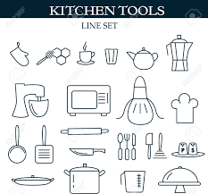 kitchen tools web icons set of symbols for a culinary theme