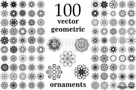 geometric ornaments set 100 vector spirographs stock image