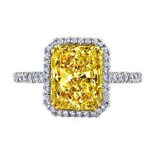 fancy yellow diamond engagement rings 5 00 carat fancy yellow radiant cut diamond halo engagement ring