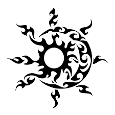 polynesian style black ink sun with moon sketch tattoos