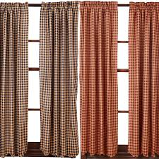 burgundy or navy check scalloped lined curtain panels primitive