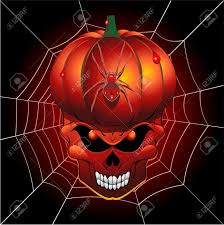 scary pumpkin skull and spider web royalty free cliparts