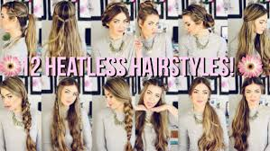 heatless hair styles 12 heatless hairstyles for back to school beautybyasha youtube