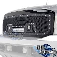 Truck Lighting Ideas by Rivet Black Ss Wire Mesh Grille W Shell U0026w Led Lights 99 04 Ford