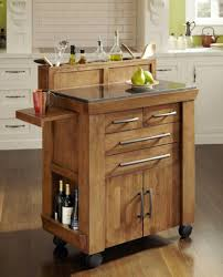 target kitchen furniture natural polished oak wood cart island with glossy stone countertop