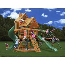 Wood Backyard Playsets by Exterior Gorilla Playset Great Skye I Swing Set With Wood Roof