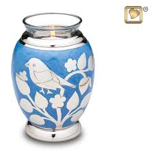keepsake cremation urns tealight candle silver blessing birds keepsake cremation urn