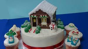 Christmas Cake Decorations Youtube how to make xmas house cake using chocolate mold youtube
