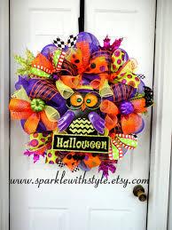 limited availability halloween owl wreath halloween deco mesh