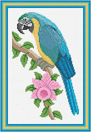 blue and gold macaw cross stitch pattern scenery