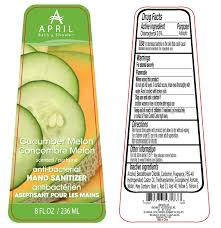 april bath and shower cucumber melon scented hand sanitizer anti