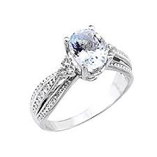 white gold engagement rings cheap 14k white gold band oval aquamarine engagement ring