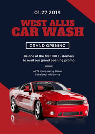 red shiny car car wash flyer templates by canva