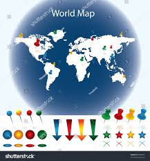 World Map With Pins by World Map Pins Stock Vector 90059827 Shutterstock