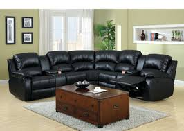 fa6557bp aberdeen black bonded leather reclining sectional with