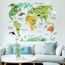 Map Home Decor Colorful World Map Wall Sticker Decal Vinyl Art Kids Room Office