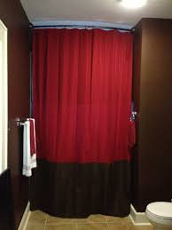 Chocolate Brown And Red Curtains Diy Tutorial Extra Long Chocolate Brown And Red Bathroom Shower