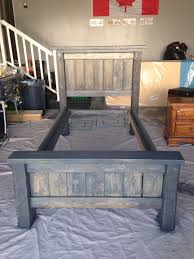 diy twin bed frame plans from anna white stained in minwax charcoal grey total cost for project 80