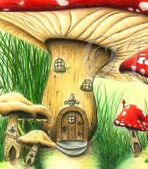 Mushroom Home Decor Mushroom House Fairy Tale Fantasy Fine Art Print