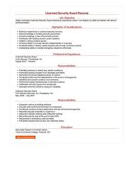 security guard resume unarmed security guard resume sle best format