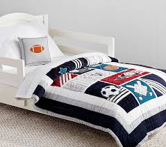Sports Toddler Bedding Sets Liam Sports Toddler Quilt Pottery Barn
