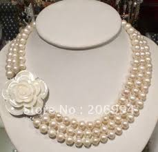 white shell pearl necklace images Charming design 7 8mm freshwater white pearl necklace big shell jpg