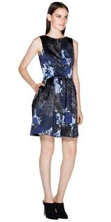 cue mirror orchid dress white with blue flowers front exposed zip