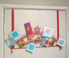 over door christmas card holder sleigh design red with gold