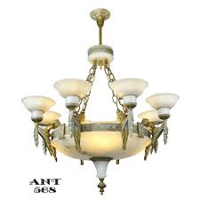 Art Deco Ceiling Light Fixtures Art Deco Grand Alabaster Bowl Chandelier Antique Eight Light