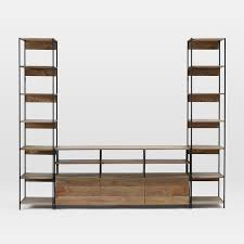Modular Bookcase Systems Industrial Modular Large Media Set With Bookshelves West Elm