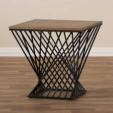 Industrial Modern Furniture by Black Wire Wood Twist Side Table