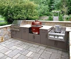 exterior kitchen cabinets this compact outdoor kitchen layout covers the bases with a grill