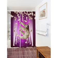 Shower Curtains Purple Waterproof Funny Sloth And Dollars Shower Curtain Purple W Inch