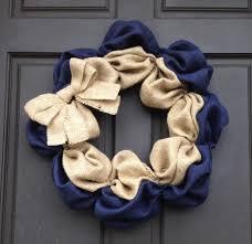 burlap wreath home decor navy blue u0026 natural burlap