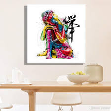 Modern Wall Art 2017 Oil Paintings Canvas Colorful Buddha Sitting Wall Art