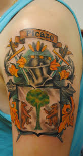 picazo and family crest on left half sleeve