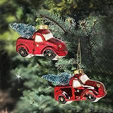 raz imports car and truck glass ornaments