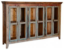 Buffet Cabinets And Sideboards Rustic Cabana 3 Glass Door Buffet Cabinet Farmhouse Buffets