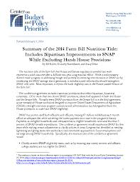 summary of the 2014 farm bill nutrition title includes bipartisan