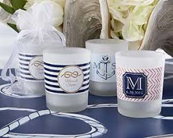 personalized candle favors personalized frosted glass votive nautical wedding candle