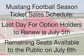 mustang football schedule sisd announces mustang football season ticket availability