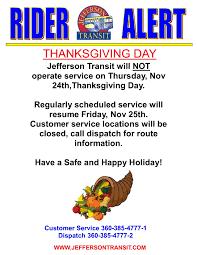 rider alert thanksgiving day 2016 jefferson transit