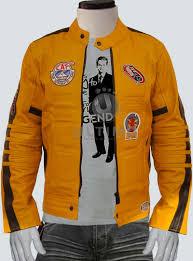 yellow motorcycle jacket movie kill bill uma thurman women leather jacket